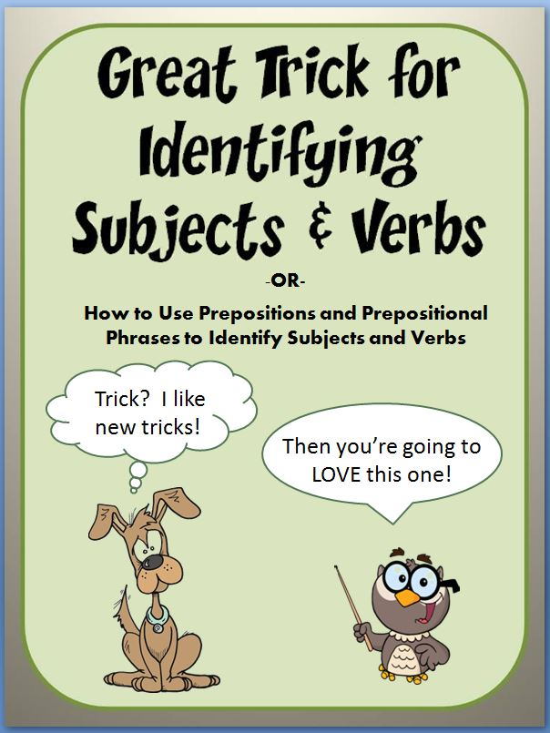 "This 88-slide PowerPoint teaches students to easily identify the subject and verb of a sentence. The entertaining lesson contains animations, cartoon characters, and humorous dialogue. Students learn a ""trick"" for identifying subjects and verbs– eliminate prepositional phrases from the sentence. Any student with a basic understanding of nouns and verbs will enjoy success with this approach. Includes a list of common prepositions and practice worksheet!"