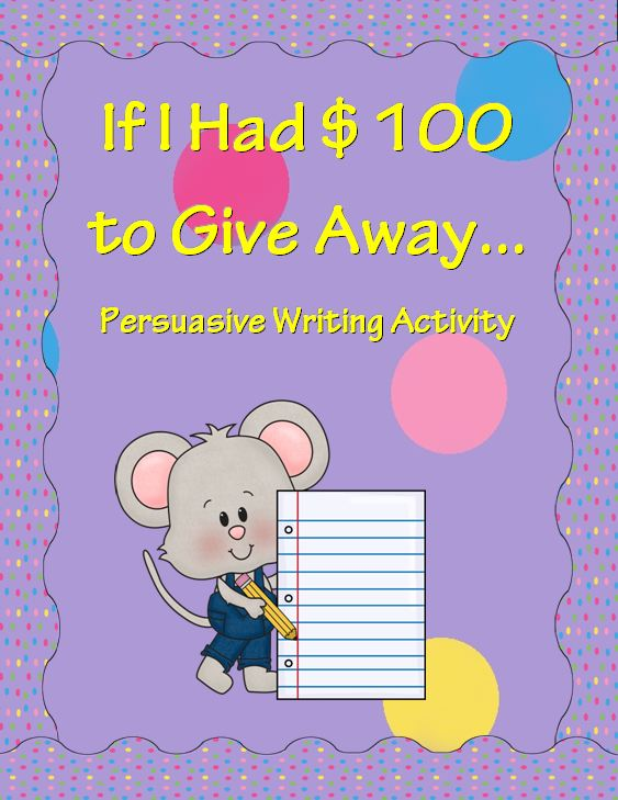 Persuasive Writing Activity~ These print-and-go handouts and activities make it easy for students to select a charity or service organization. Each child writes his or her own persuasive essay to win the hypothetical hundred dollars for their charity. Great way to begin any school service project!