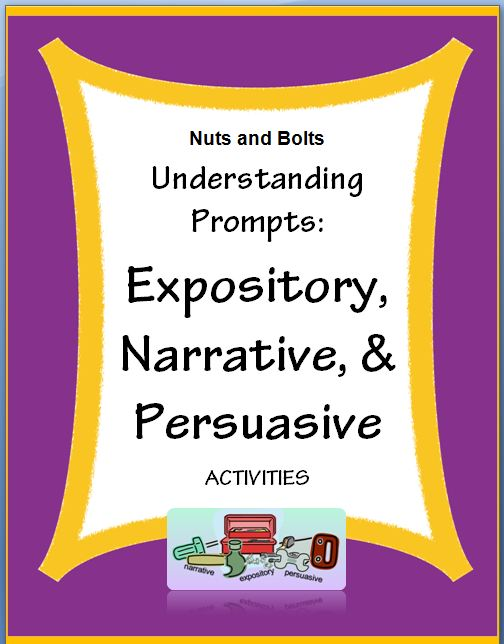 "Understanding Prompts: Expository, Narrative, & Persuasive~ Fun, easy, and ready-to-use activities! Students learn key words and are able to understand what type of writing is expected. This makes every phase of writing easier and more focused. When students ""get it"" they lose their fear and are eager to write! Companion PowerPoint product also available."