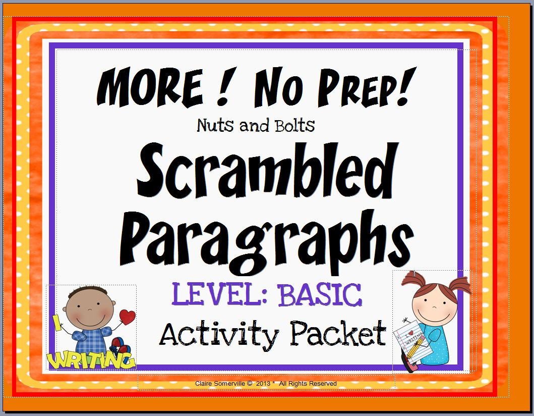 "Scrambled Paragraphs~ This NO PREP activity packet contains three MORE Scrambled Paragraphs. Each paragraph is written at a BASIC, beginner level using easy sequencing clues such as ""first,"" ""second,"" and ""third."" There are nine (9) ready-to-use printables. Just copy and go!"