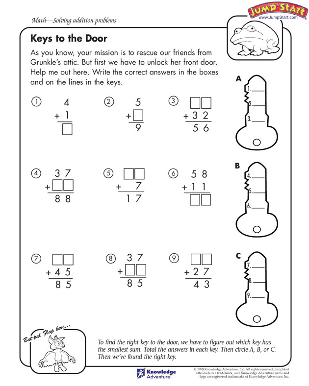 FREE Math Printable~ This fun addition worksheet, Keys to the Door, requires three steps to finding the fun solution. Check out the wide variety of free worksheets available at JumpStart organized by grade level and subject!