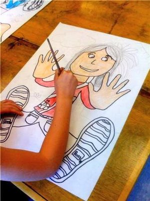 Falling back in Space Portraits~ Students trace hands and feet, and then fill in their other features. Great anytime project! Check out this and other fun posts at Oodles of Art!
