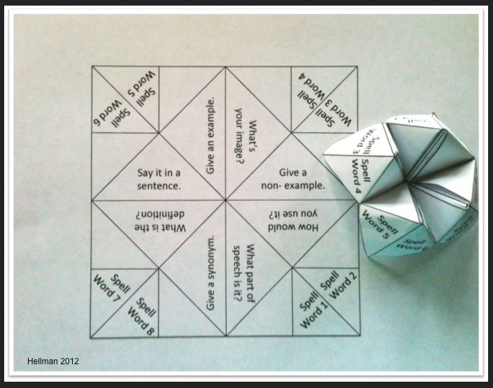 Teaching with cootie catchers lessons4now for Marzano vocabulary template