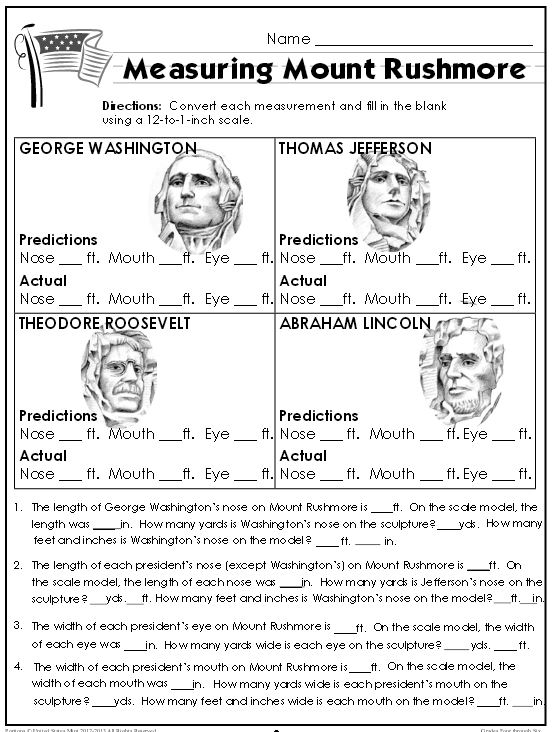 FREE Mount Rushmore Lesson~ U.S. Mint uses images from quarters as a springboard for several lessons like this one that focuses on compare/contrast and measurement. Great curriculum cross-over, and just plain interesting! Each lesson includes printables, answer keys, and background information!
