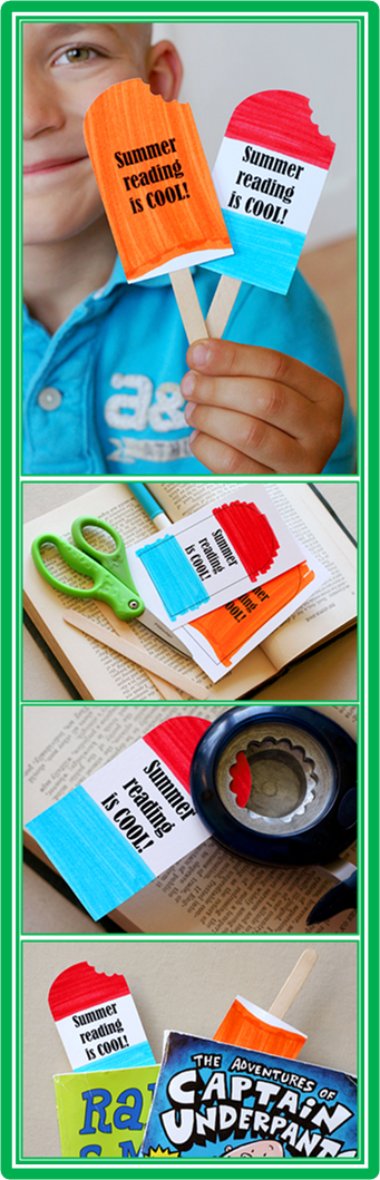 "Popsicle Bookmarks~  Print, color, cut out, ""take a bite,"" glue to a craft stick, and you're done.  Great reminder to keep reading during the summer!"