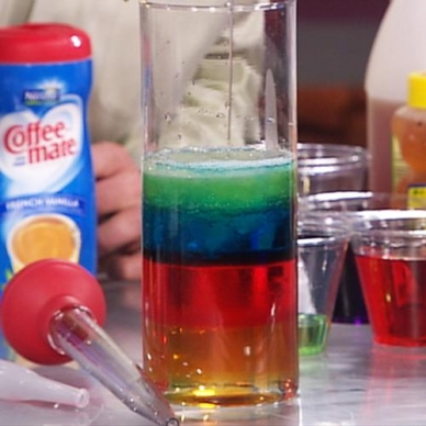 """FREE Video~ Learn how to make your own Seven Layer Density Column. Steve Spangler """"stacks"""" liquids using a 9-oz. measuring cup, a tall, glass cylinder, and a turkey baster. Liquids include: light Karo syrup, water, vegetable oil, Dawn dish soap (blue), rubbing alcohol, lamp oil, honey, and food coloring. The preparation's a little cumbersome, but the """"WOW"""" factor makes it all worthwhile! Limited budget? Watch the video together, and then let kids make their own concoctions at home!"""
