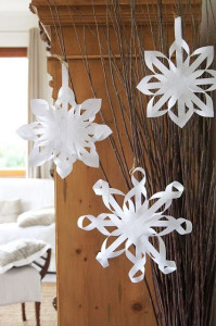 "Snowflake Paper Craft~ Perhaps the coolest thing about this project is that the website it came from is in Finnish (I think!) and I was able to click ""translate"" on the top ""Google translate"" bar... and it did. At least well enough that I got the gist of this project. Pretty, not-too-challenging, low-cost craft!"