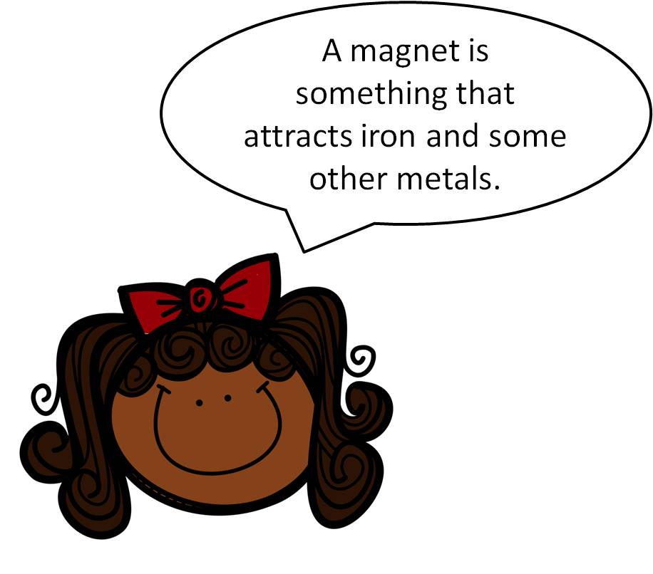 student girl using kid words to define magnet image